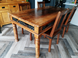 Wooden and wrought iron dining table and 4 chairs