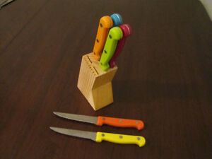 Set of Six Colorful Steak Knives