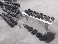 Cast Iron Dumbbell Set Over 1000KG Of Total Weight - 38 Dumbbells - 2x Racks + Spares