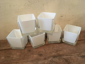 3x3 white glass cubes
