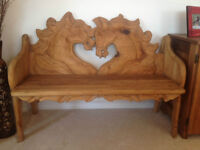 Unique Hand Carved Wooden Horse Bench