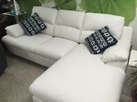 Sectional Sofa in white bonded leather & Memory Foam
