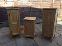 Solid oak cabinets and laundry bin