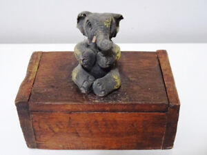 very unique ELEPHANT BOX Match Holder with Striker WOOD folk art