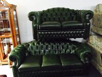 Chesterfield 3 and 2 leather sofa set