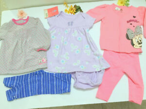 Baby Girl (6-12 m.) Mickey Dress, Minnie Jacket, Leggings 6 pc.