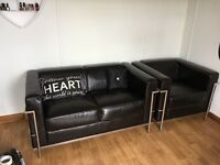 Black leather sofa and chair £150