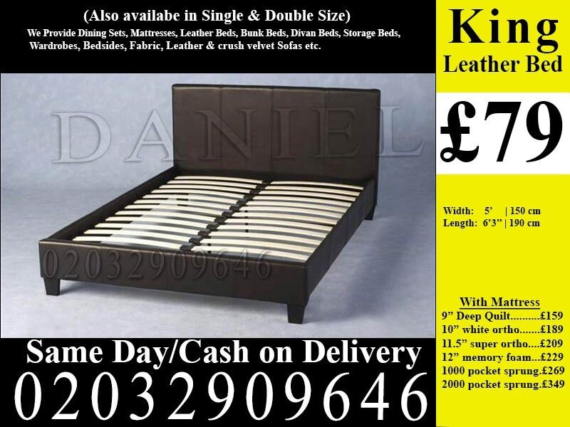 StrongPU Leather Frame Double king Single Bedding Black Brown Sonorain Manor Park, LondonGumtree - We sell best quality furniture including Leather beds , Crushed Velvet beds, Storage Beds , Contact now and we will help you with best and cheapest product we have