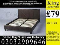 StrongPU Leather Frame Double king Single Bedding Black Brown Largo