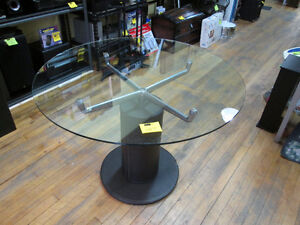 Round Glass Top Dining Table - NOW 50% OFF -