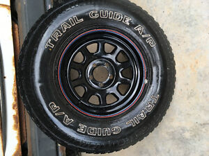 4 American steel off set rims and tires