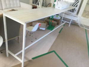 Metal and White oak wood kitchen island console bar table