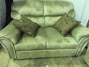 TODAY ONLY! May 27, 2016 -- Gold Brown Velvet Love Seat -- 62% O