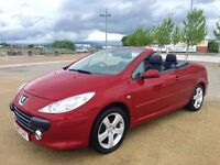 2007 PEUGEOT 307 CONVERTIBLE ++ ALLOYS ++ LEATHER ++ LOW MILES ++ FEBRUARY MOT.