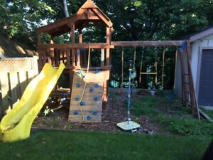 Solid Wood Outdoor Play structure: swings, slide and climber