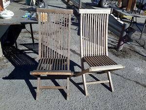 PAIR OF TEAK DECK CHAIRS TITANIC  STYLE $90.00 for both