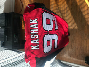 #99 Mike Kashak Authentic Game Worn Calgary Stampeders Jersey