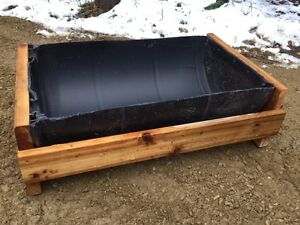 Livestock water trough - 1/2 barrel cedar design