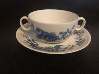 Royal Worcester rhapsody china soup cup and saucer 1975