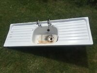 Vintage 1950s Cast Iron Sink