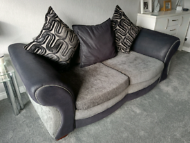 2x2 seater DFS Black & Silver/Grey sofas & pouffe (corner option)