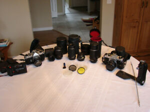 PENTAX-2 BODIES-6 LENSES-ACCESSORIES-POCKET CAM+SONY CAMCORDER