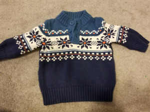 Gap blue xmas knitted sweater 6-12mos