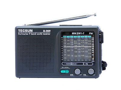 TECSUN R-909 Portable Radio FM/MW/SW 9 bands World Receiver New with DC Power