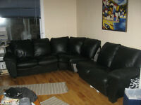 Natuzzi 3 piece Black Leather Sectional Sofa