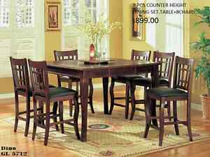 9 PCS SOLID WOOD COUNTER HEIGHT DINING SET(TABLE+ 8 CHAIRS)