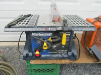 Table saw, shop heater, sliding compound mitre saw,