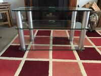 Glass and Aluminium TV Video Cabinet