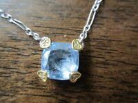Ladies blue stone pendant silver necklace.