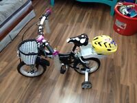 Kids bike with brand new helmet