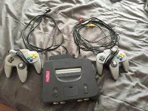 Nintendo 64 with two original controllers