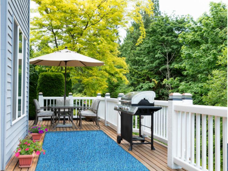 Indoor/Outdoor Marina Blue Artificial Grass Turf Area Rug Pa