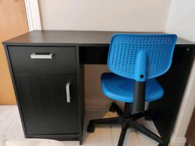 Black IKEA desk & blue IKEA chair