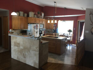 Cabinets, countertops, island, double sink& built in oven