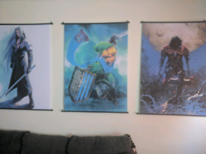 3 Gaming Wall Scrolls for sale