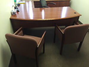Office Suite - bow desk/return/credenza+chairs