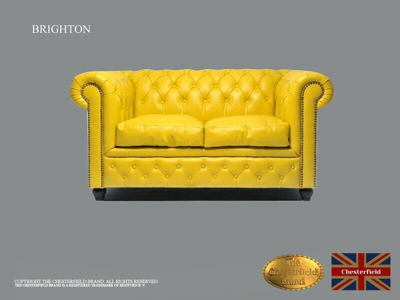 Chesterfield Sofa -The Chesterfield Brand Authentic -Classic yellow-2 seats -Real leather -HANDEMADE