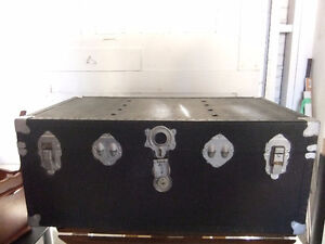 storage steamer trunk painted black and silver, in good cond