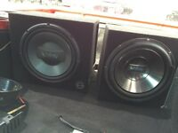 """2 amps and 2 12"""" subs in boxes .. Perfect condition"""