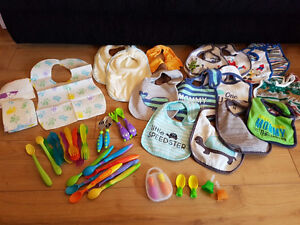 Baby + Toddler: Bibs, Spoons, forks, pouch squeeze tops LOT