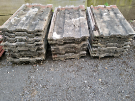 Roof tiles. Essex brand from 1960s. Reclaimed from garage. 27 tiles.