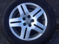 "VW GOLF 15"" ALLOY WHEELS WITH LEGAL TYRES."