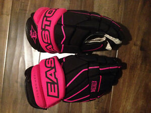 """Hockey gloves 12"""" Easton with pink trim"""