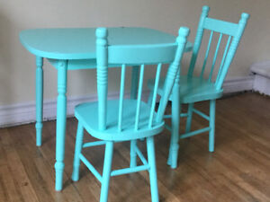 Antique wooden children's table and chairs