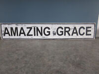 UNIQUE HAND PAINTED WEATHERED RUSTIC SIGN (AMAZING GRACE)