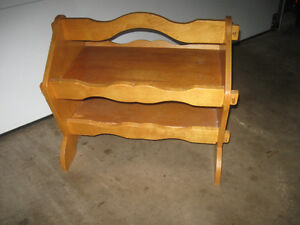OLD VINTAGE HAND-CRAFTED SOLID WOOD PORTABLE TOTE-TABLE